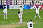 Wicket - Josh Tongue of Worcestershire traps Brad Wheal of Hampshire LBW during the Specsavers County Champ Div 1 match between Hampshire County Cricket Club and Worcestershire County Cricket Club at the Ageas Bowl, Southampton, United Kingdom on 13 April 2018. Picture by Graham Hunt.