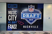 Apr 24, 2019; Nashville, TN, USA; General overall view of 2019 NFL Draft signage at the Nashville International Airport (BNA).