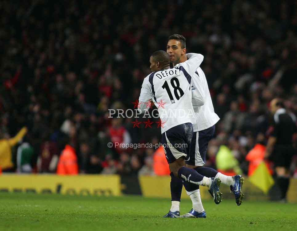LONDON, ENGLAND - Wednesday, January 31, 2007: Tottenham Hotspur's Hossam Mido celebrates scoring an equalising goal against Arsenal to level the scores 1-1 during the Football League Cup Semi-Final 2nd Leg at the Emirates Stadium. (Pic by Chris Ratcliffe/Propaganda)