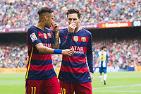 Leo Messi and Neymar during the match between FC Barcelona vs RCD Espanyol of Spanish Liga BBVA. Played on Camp Nou Stadium. On the 8th of May of 2016, Barcelona, Spain, Photo Xavi Bonilla / DPPI