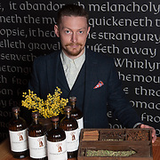 Apothecarist Tim Foster. The launch of the Lindores Abbey Distillery Aqua Vitae. Newburgh. 19 Mar 2018. © Copyright photograph by Tina Norris. Free first use. More info: Fiona Leith  Contact Tina on 07775 593 830 info@tinanorris.co.uk www.tinanorris.co.uk http://tinanorris.photoshelter.com