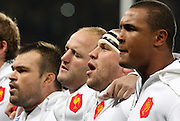 The French team including William Servat, Barcella and Thierry Dusautoir sing the national anthem before the international match between France and South Africa at Stade Municipal on November 13, 2009 in Toulouse, France.