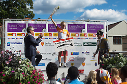 Emilie Moberg (NOR) of Hitec Products Cycling Team celebrates winning the most aggressive rider's salmon jersey after the 117,5 km third stage of the 2016 Ladies' Tour of Norway women's road cycling race on August 13, 2016 between Svinesund, Sweden and Halden, Norway. (Photo by Balint Hamvas/Velofocus)