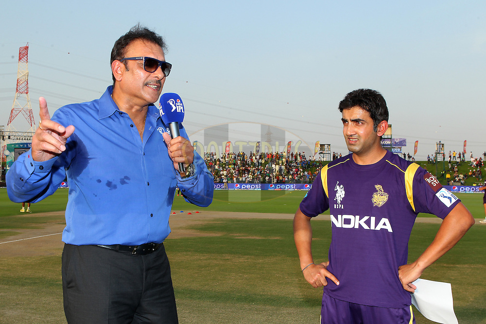 Gautam Gambhir captain of the Kolkata Knight Riders interviewed before the toss during match 19 of the Pepsi Indian Premier League 2014 Season between The Kolkata Knight Riders and the Rajasthan Royals held at the Sheikh Zayed Stadium, Abu Dhabi, United Arab Emirates on the 29th April 2014<br /> <br /> Photo by Ron Gaunt / IPL / SPORTZPICS