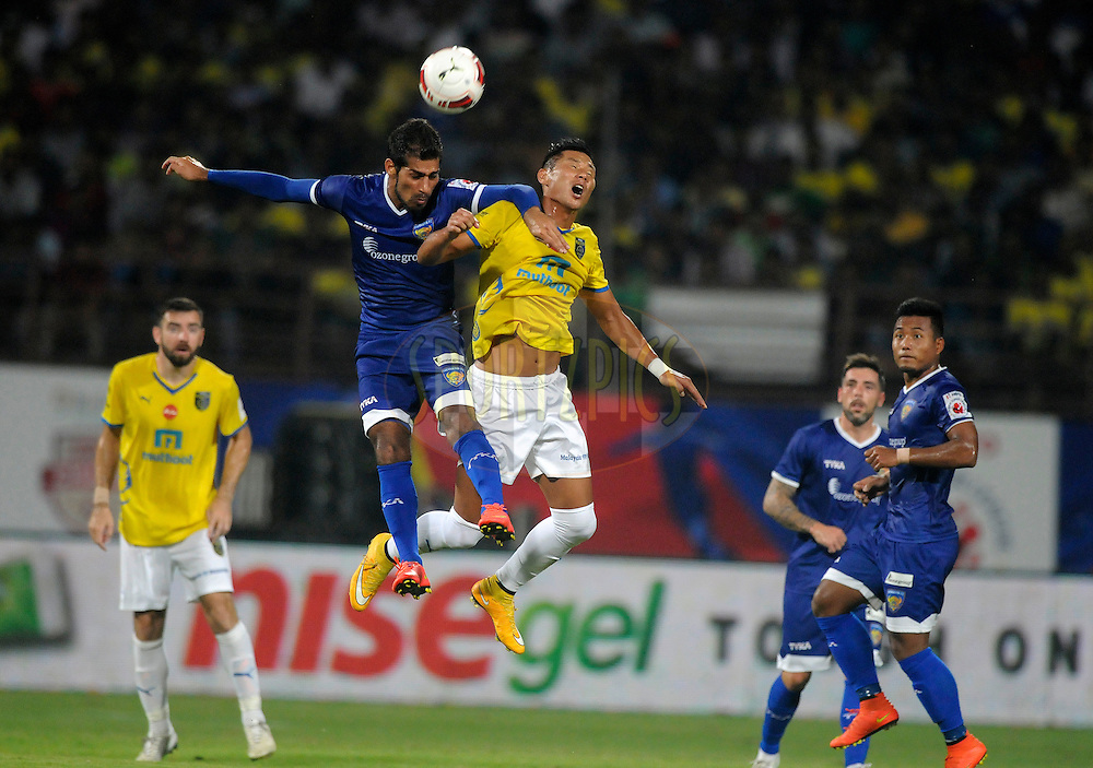 Raphael Romey of Kerala Blasters FC and Balwant Singh of Chennaiyin FC during match 45 of the Hero Indian Super League between Kerala Blasters FC and Chennaiyin FC held at the Jawaharlal Nehru Stadium, Kochi, India on the 30th November.<br /> <br /> Photo by:  Pal Pillai/ ISL/ SPORTZPICS
