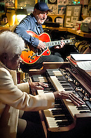 Dottie (unsure of her last name), at 93 years of age, sitting in on the Hammond B3 and George Paraski on guitar during the Gil Lewis bi-weekly jazz session at The Bus Stop Music Cafe in Pitman, NJ. By the way, she kills it~