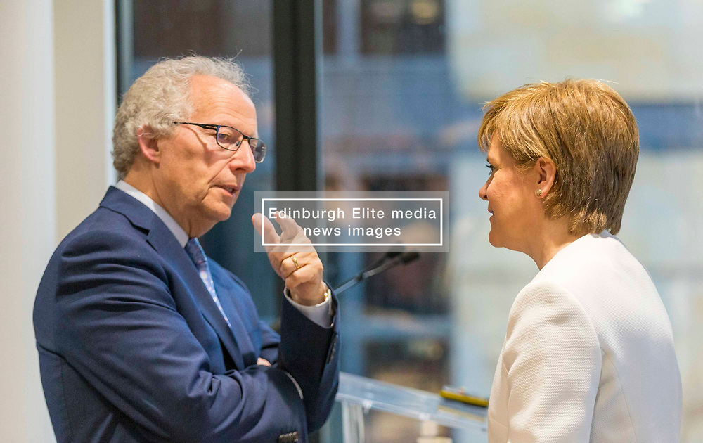 First Minister addresses Law Society of Scotland. Nicola Sturgeon will speak at the society's conference marking 20 years of devolution.<br /> <br /> Pictured: Henry Mcleish and Nicola Sturgeon