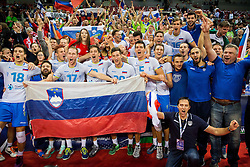 17-10-2015 BUL: Volleyball European Championship Slovenie - Italie, Sofia<br /> Semifinal in Arena Armeec Sofia / Players of Slovenia celebrate<br /> Photo: Vid Ponikvar / RHF<br /> +++USE NETHERLANDS ONLY+++