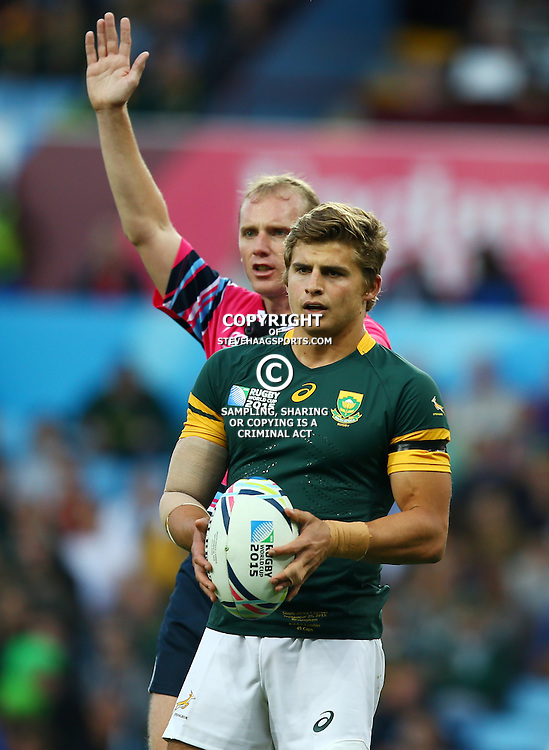 BIRMINGHAM, ENGLAND - SEPTEMBER 26: Patrick Lambie of South Africa during the Rugby World Cup 2015 Pool B match between South Africa and Samoa at Villa Park on September 26, 2015 in Birmingham, England. (Photo by Steve Haag/Gallo Images)
