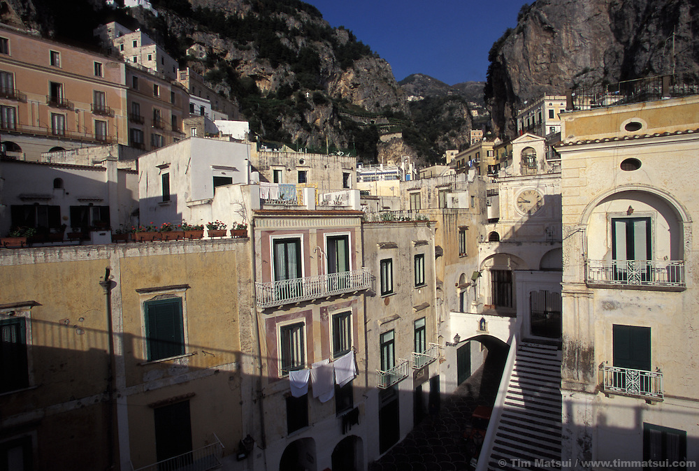 Amalfi, Italy and the neighboring town Atrani which is, literally, a five minute walk around the corner. The Amalfi Coast of Italy.
