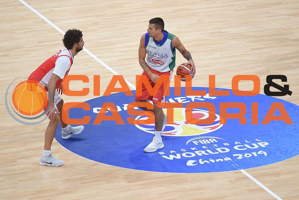 Cinciarini Andrea, Vitali Michele<br /> Nazionale Senior maschile<br /> Allenamento<br /> World Qualifying Round 2019<br /> Bologna 12/09/2018<br /> Foto  Ciamillo-Castoria / Giuliociamillo