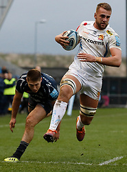 Exeter Chiefs' Sean Lonsdale runs in his teams third try against Sale Sharks during the Gallagher Premiership match at the AJ Bell Stadium, Salford.