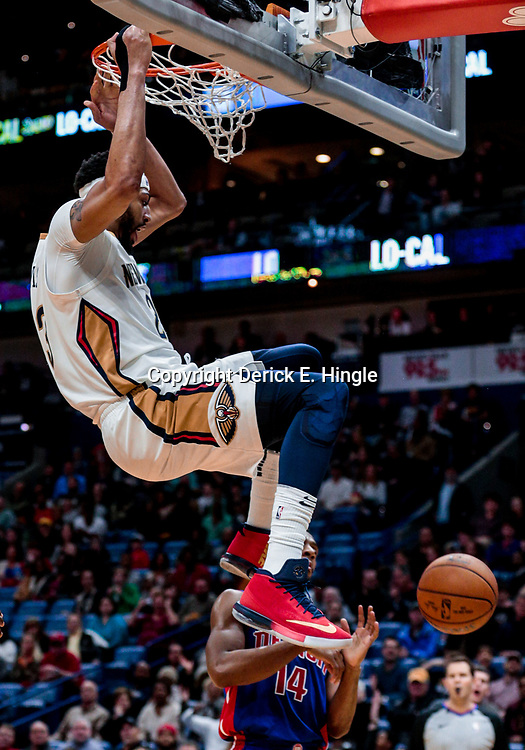Jan 8, 2018; New Orleans, LA, USA; New Orleans Pelicans forward Anthony Davis (23) dunks against the Detroit Pistons during the second half at the Smoothie King Center. The Pelicans defeated the Pistons 112-109. Mandatory Credit: Derick E. Hingle-USA TODAY Sports