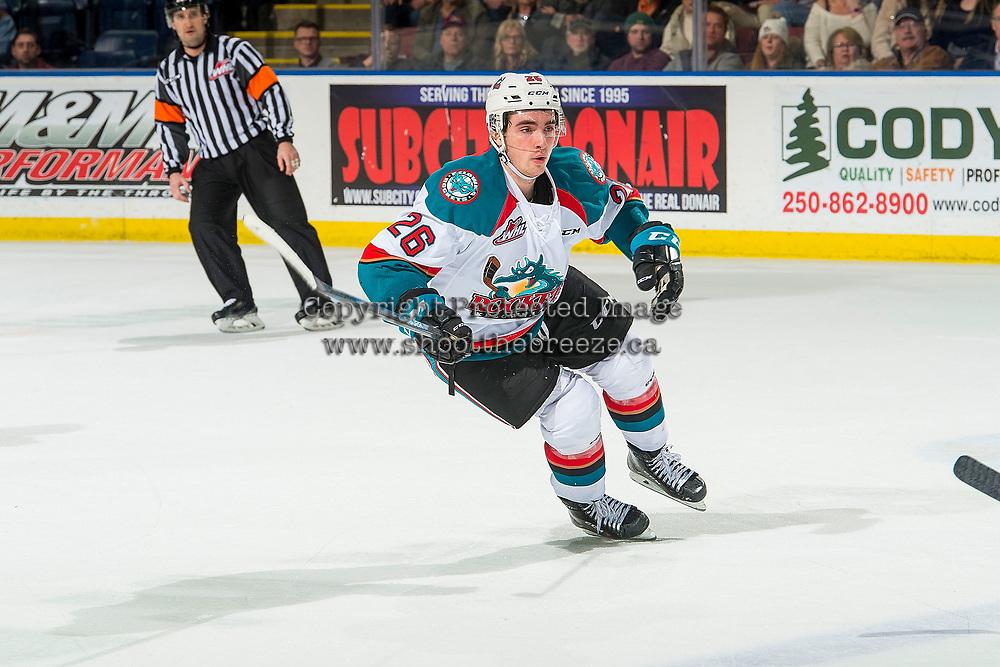 KELOWNA, BC - JANUARY 19:  Liam Kindree #26 of the Kelowna Rockets skates against the Prince Albert Raiders at Prospera Place on January 19, 2019 in Kelowna, Canada. (Photo by Marissa Baecker/Getty Images)***Local Caption***