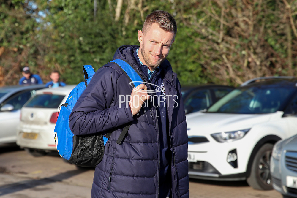 AFC Wimbledon striker Joe Pigott (39) arriving for the game during the EFL Sky Bet League 1 match between AFC Wimbledon and Peterborough United at the Cherry Red Records Stadium, Kingston, England on 18 January 2020.