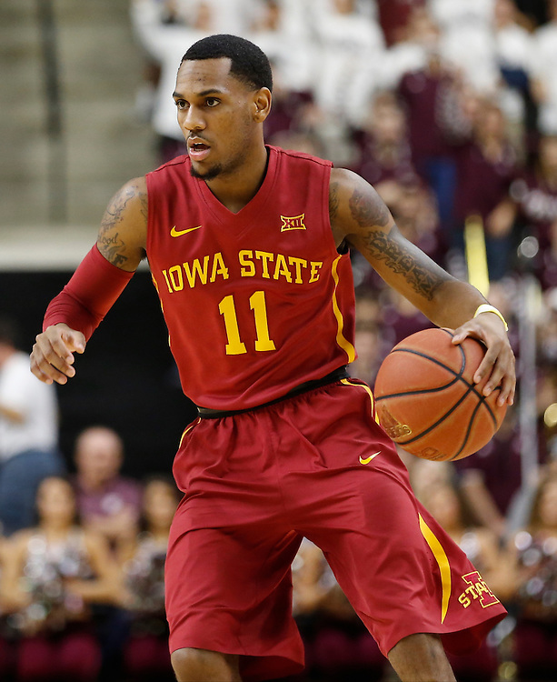 Jan 30, 2016; College Station, TX, USA;  Iowa State Cyclones guard Monte Morris (11) dribbles against the Texas A&M Aggies at Reed Arena. A&M won 72 to 62. Mandatory Credit: Thomas B. Shea-USA TODAY Sports