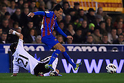VALENCIA, SPAIN - MARCH 02: (R) Pedro Rios of Levante UD being fouled by (L) Daniel Parejo of Valencia CF during the Liga BBVA between Valencia CF and Levante UD at the Mestalla stadium on March 02, 2013 in Valencia, Spain. (Photo by Aitor Alcalde Colomer).