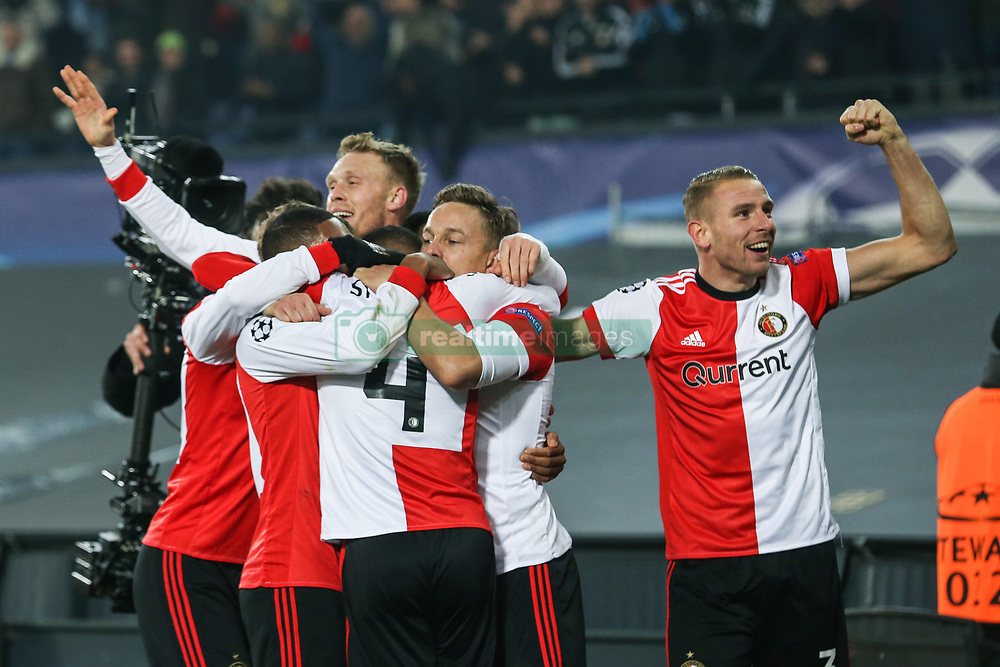 (l-r) Nicolai Jorgensen of Feyenoord, Jeremiah St. Juste of Feyenoord, Jens Toornstra of Feyenoord, Sven van Beek of Feyenoord during the UEFA Champions League group F match between Feyenoord Rotterdam and SSC Napoli at the Kuip on December 06, 2017 in Rotterdam, The Netherlands