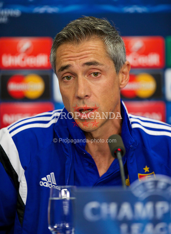 BASEL, SWITZERLAND - Tuesday, September 30, 2014: FC Basel's head coach Paulo Sousa during a press conference at the St. Jakob Stadium ahead of the UEFA Champions League Group B match against Liverpool. (Pic by David Rawcliffe/Propaganda)
