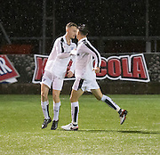 Matthew Henvey is congratulated after scoring Dundee's consolation goal - Hearts v Dundee under 20s in the SPFL Development League at Ochilview, Stenhousemuir. Photo: David Young<br /> <br />  - &copy; David Young - www.davidyoungphoto.co.uk - email: davidyoungphoto@gmail.com