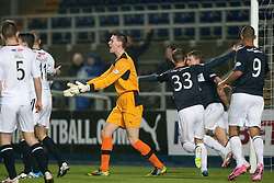 Raith Rovers Ross Laidlaw after Falkirk's Stephen Kingsley scored their third goal.<br /> Falkirk 3 v 1 Raith Rovers, Scottish Championship game at The Falkirk Stadium.