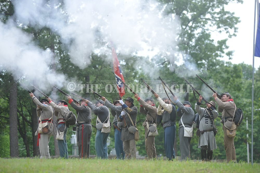 Reenactors at the Confederate Soldiers' Memorial Service at the Confederate Cemetery at Ole Miss in Oxford, Miss. on Sunday, May 1, 2011