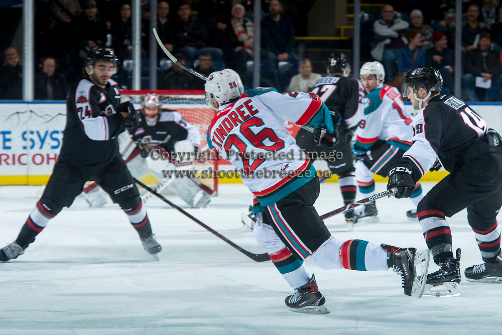 KELOWNA, CANADA - MARCH 7: Liam Kindree #26 of the Kelowna Rockets takes a shot on the net of David Tendeck #30 of the Vancouver Giants during first period on March 7, 2018 at Prospera Place in Kelowna, British Columbia, Canada.  (Photo by Marissa Baecker/Shoot the Breeze)  *** Local Caption ***