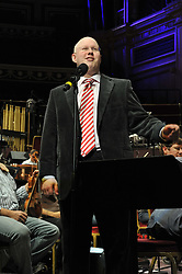 © Copyright licensed to London News Pictures. 18.10/2010. Matt Lucas sound checking. Musicians and composers from the world of film gather for Concert for Care, Royal Albert Hall, London.