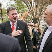 Monacan Chief, Dean Branham greets former Virginia Governor, George Allan prior to the dedication ceremony for Mantle: Virginia Indian Tribute, a monument designed on Virginia State Capitol Square, in Richmond, Virginia, on Tuesday, April 17, 2018. As a U.S. Senator, George Allen first introduced the Thomasina E. Jordan bill along with Sen. John Warner, federally recognizing Monacan Indian Nation along with 5 other Virginia Tribes. This past January, the bill was signed into law. John Boal Photography