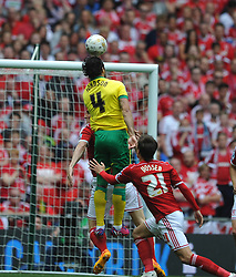 Norwich Bradley Johnson tries a early shot on target, Middlesbrough v Norwich, Sky Bet Championship, Play Off Final, Wembley Stadium, Monday  25th May 2015