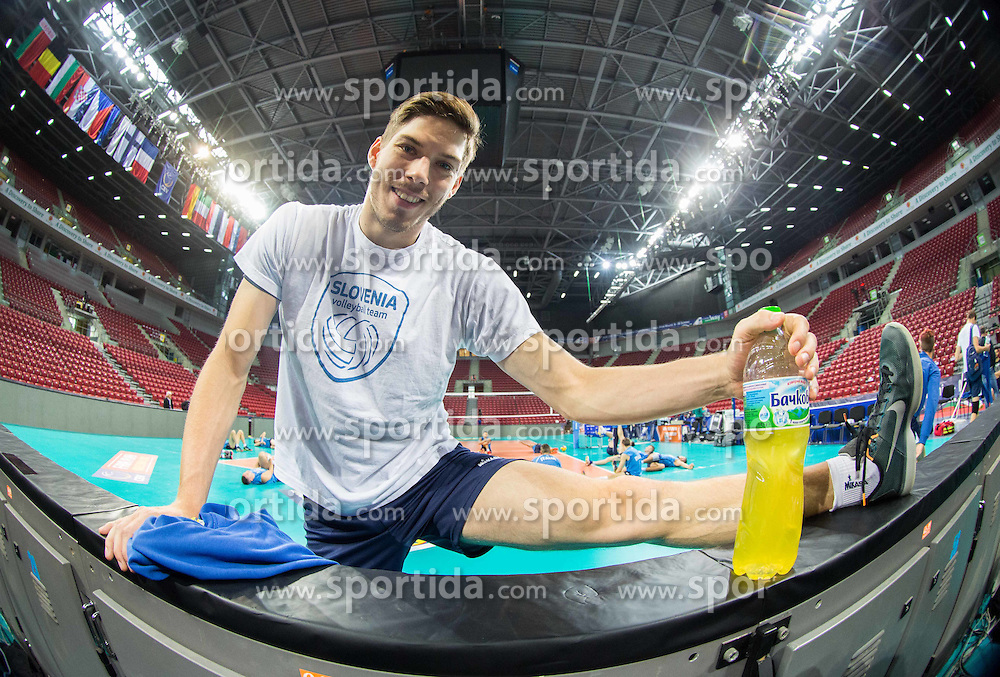 Jan Klobucar during practice session of Slovenian National Volleyball team in the morning before Semifinal match against Italy at 2015 CEV Volleyball European Championship - Men, on October 17, 2015 in Arena Armeec, Sofia, Bulgaria. Photo by Vid Ponikvar / Sportida