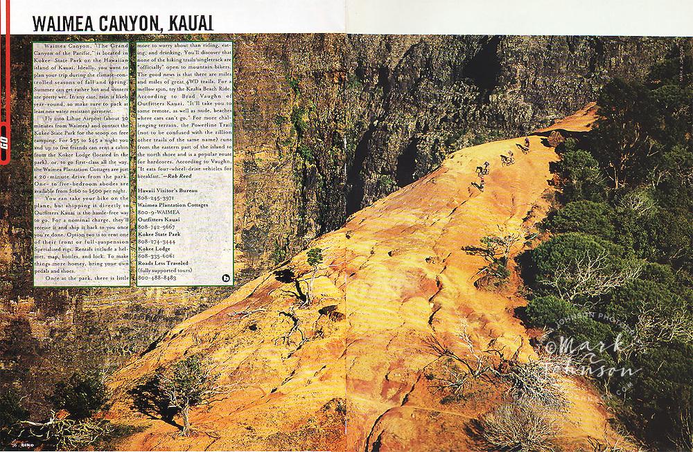 Bike Magazine double page spread of my photo of 4 mountain bike riders in Waimea Canyon, Kauai, Hawaii