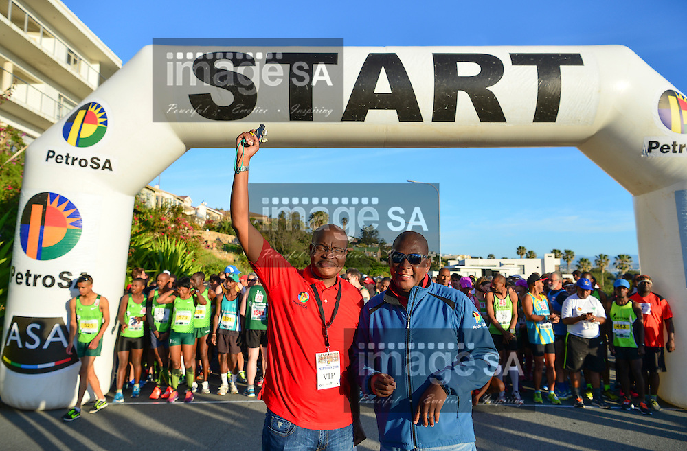MOSSEL BAY, SOUTH AFRICA - SEPTEMBER 24: Mr Siphamandla Mthethwa (Acting Group Chief Executive Officer (Group CEO) and Thabo Mabaso of PetroSA<br /> during the PetroSA Marathon finishing at Santos Caravan Park on September 24, 2016 in Mossel Bay, South Africa. (Photo by Roger Sedres/Gallo Images)
