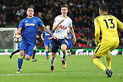 AFC Wimbledon striker Cody McDonald (10) battles for possession with Juan Foyth of Tottenham Hotspur (21) during the The FA Cup 3rd round match between Tottenham Hotspur and AFC Wimbledon at Wembley Stadium, London, England on 7 January 2018. Photo by Matthew Redman.