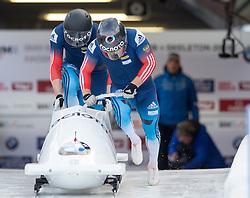 13.02.2016, Olympiaeisbahn Igls, Innsbruck, AUT, FIBT WM, Bob und Skeleton, Zweierbob Herren, 1. Lauf, im Bild Alexey Stulnev und Maxim Belugin (RUS) // Beat Hefti and Alex Baumann of Switzerland competes during two men Bobsleigh 1st run of FIBT Bobsleigh and Skeleton World Championships at the Olympiaeisbahn Igls in Innsbruck, Austria on 2016/02/13. EXPA Pictures © 2016, PhotoCredit: EXPA/ Johann Groder