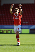 Goalscorer Tom Bradshaw celebrates his two goals during the Sky Bet League 1 match between Walsall and Doncaster Rovers at the Banks's Stadium, Walsall, England on 12 September 2015. Photo by Alan Franklin.