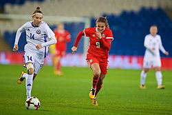 CARDIFF, WALES - Friday, November 24, 2017: Wales' Kayleigh Green and Kazakhstan's Yekaterina Babshuk during the FIFA Women's World Cup 2019 Qualifying Round Group 1 match between Wales and Kazakhstan at the Cardiff City Stadium. (Pic by David Rawcliffe/Propaganda)