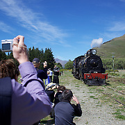 Enthusiasts photograph the Kingston Flyer vintage steam train at Saturday's relaunch of the historic locomotives at Fairlight near Queenstown, Central Otago, New Zealand, 29th October 2011. Photo Tim Clayton...