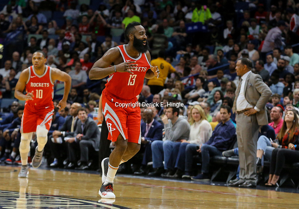 Mar 17, 2018; New Orleans, LA, USA; Houston Rockets guard James Harden (13) reacts after a basket against the New Orleans Pelicans during the second half at the Smoothie King Center. The Rockets defeated the Pelicans 107-101. Mandatory Credit: Derick E. Hingle-USA TODAY Sports