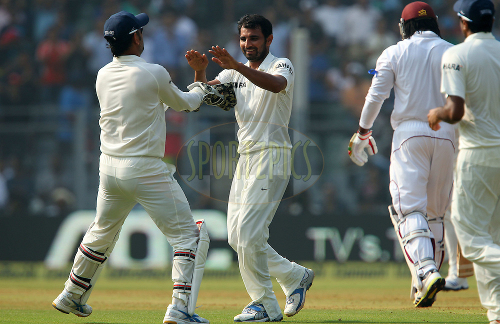 Mohammed Shami celebrates the wicket of Chris Gayle of West Indies  during day one of the second Star Sports test match between India and The West Indies held at The Wankhede Stadium in Mumbai, India on the 14th November 2013<br /> <br /> This test match is the 200th test match for Sachin Tendulkar and his last for India.  After a career spanning more than 24yrs Sachin is retiring from cricket and this test match is his last appearance on the field of play.<br /> <br /> <br /> Photo by: Ron Gaunt - BCCI - SPORTZPICS<br /> <br /> Use of this image is subject to the terms and conditions as outlined by the BCCI. These terms can be found by following this link:<br /> <br /> http://sportzpics.photoshelter.com/gallery/BCCI-Image-Terms/G0000ahUVIIEBQ84/C0000whs75.ajndY