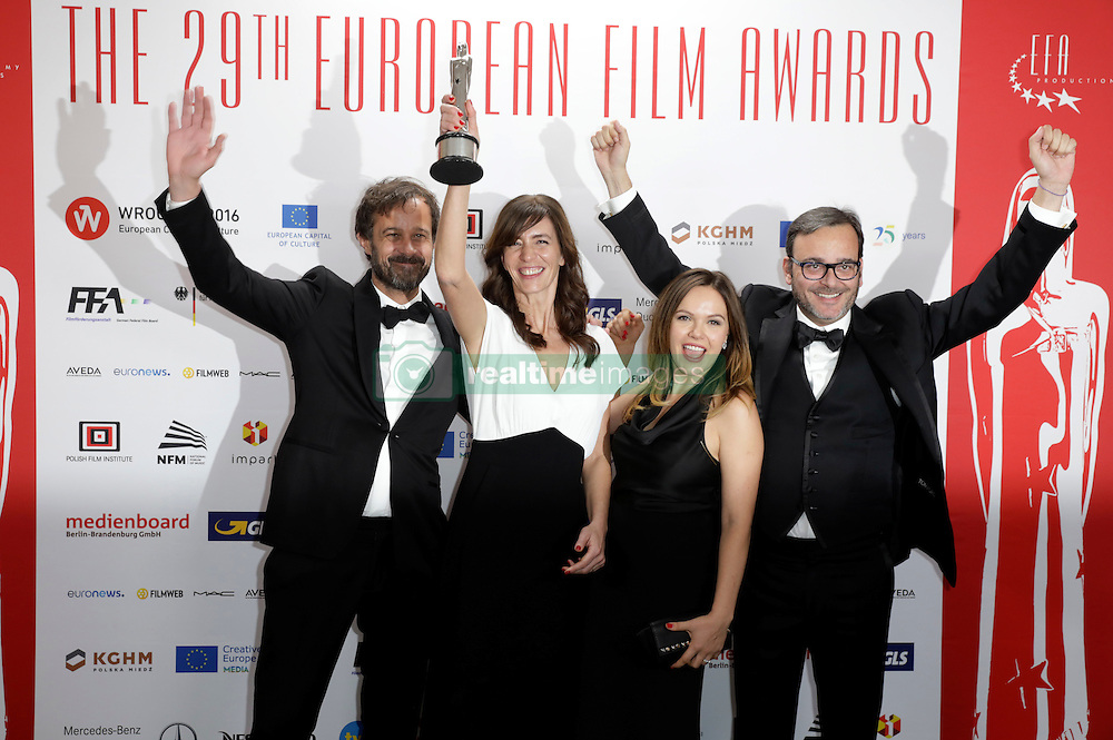 December 10, 2016 - Wroclaw, Lower Silesian, Deutschland - Director Claude Barras, producers Pauline Gygax, Kate Merkt and Michel Merkt attend the 29th European Film Awards 2016 at the National Forum of Music on December 10,2016 in Wroclaw, Poland. (Credit Image: © Future-Image via ZUMA Press)