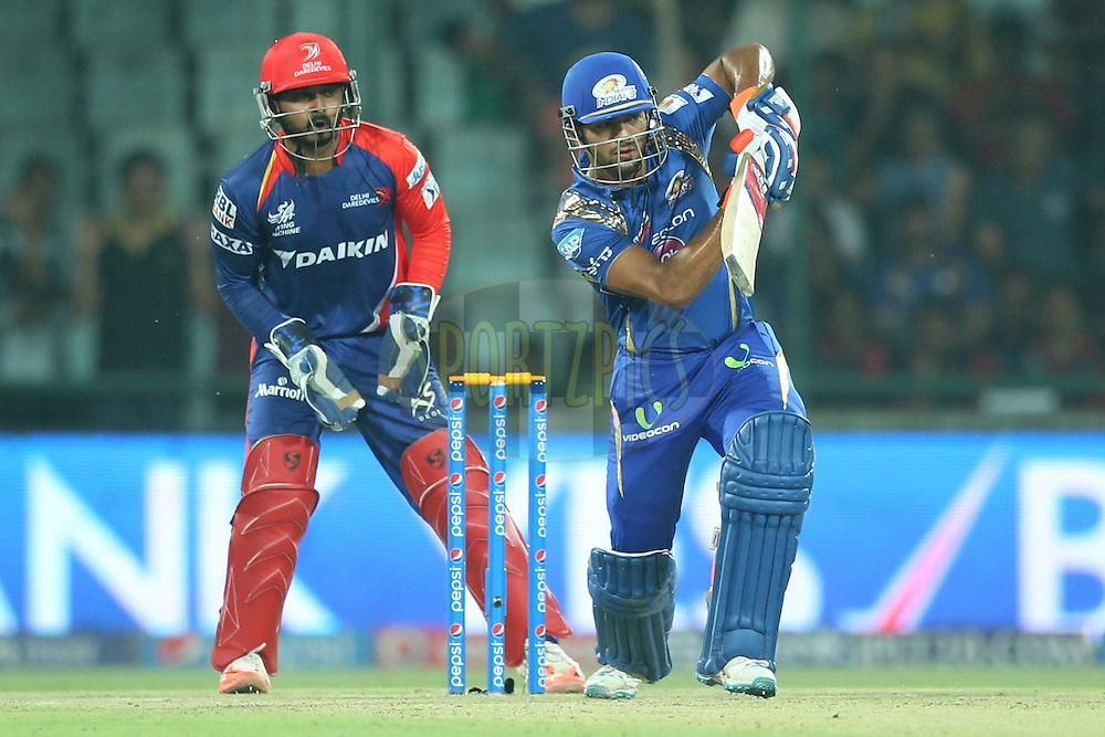 Unmukt Chand of the Mumbai Indians bats during match 21 of the Pepsi IPL 2015 (Indian Premier League) between The Delhi Daredevils and The Mumbai Indians held at the Ferozeshah Kotla stadium in Delhi, India on the 23rd April 2015.<br /> <br /> Photo by:  Deepak Malik / SPORTZPICS / IPL