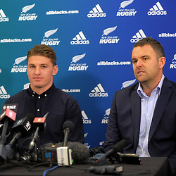 Beauden Barrett announces his resigning with the All Blacks, Hurricanes and Taranaki RFU, alongside Hurricanes chief executive Avan Lee, at the New Zealand Rugby Union Head Office, Wellington, New Zealand on Monday, 29 August 2016. Photo: Dave Lintott / lintottphoto.co.nz