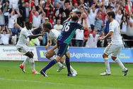 Swansea city's Michu © celebrates with Nathan Dyer (l) after he scores his sides 2nd goal from a header.  Barclays Premier league, Swansea city v Sunderland at the Liberty Stadium in Swansea, South Wales on Saturday 1st Sept 2012. pic by Andrew Orchard, Andrew Orchard sports photography,