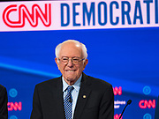 "14 JANUARY 2020 - DES MOINES, IOWA: Senator BERNIE SANDERS on stage during the ""photo spray"" at the CNN Democratic Presidential Debate on the campus of Drake University in Des Moines. This is the last debate before the Iowa Caucuses on Feb. 3.    PHOTO BY JACK KURTZ"