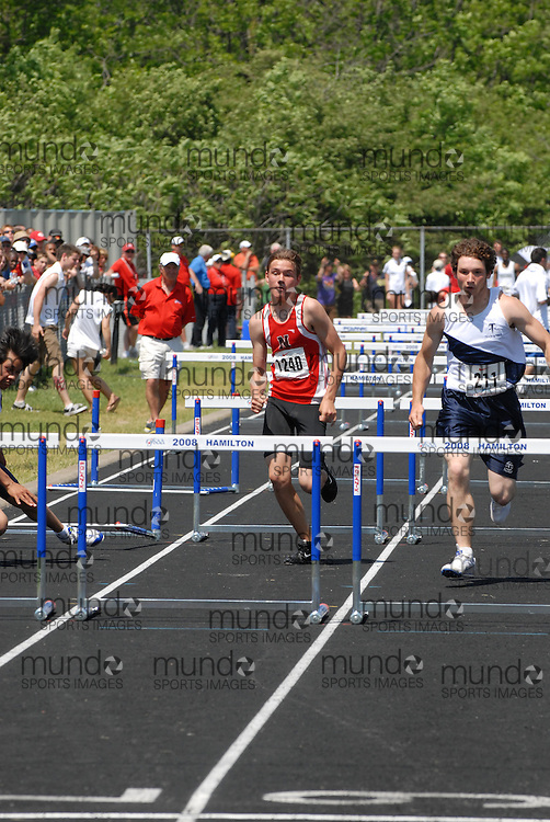 Hamilton, Ontario ---06/06/08--- Jon Ravenhorst of Northern  in Sarnia competes in the sprint hurdle finals at the 2008 OFSAA Track and Field meet in Hamilton, Ontario..Mark Butterwick