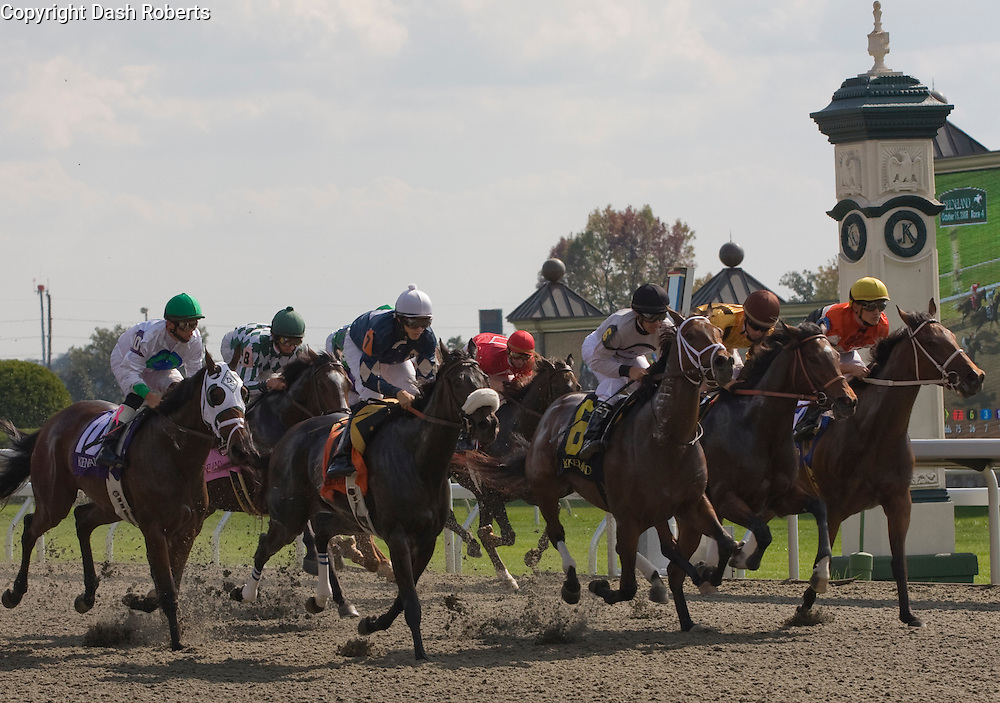 Thoroughbreds race for the finish line at Keeneland in Lexington,Ky.
