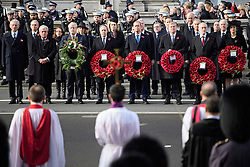 © Licensed to London News Pictures. 13/11/2016. London, UK.  Politicians, including BORIS JOHNSON, DAVID CAMERON, TONY BLAIR, JEREMY CORBYN, JOHN MAJOR and THERESA MAY attend a Remembrance Day Ceremony at the Cenotaph war memorial in London, United Kingdom, on November 13, 2016 . Thousands of people honour the war dead by gathering at the iconic memorial to lay wreaths and observe two minutes silence. Photo credit: Ben Cawthra/LNP