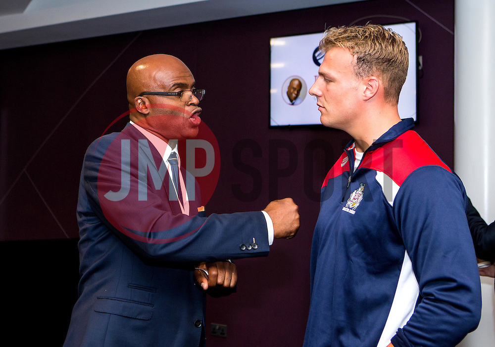 Kriss Akabusi chats to Mitch Eadie of Bristol Rugby during the Bristol Sport Big Breakfast - Mandatory by-line: Robbie Stephenson/JMP - 29/07/2016 - FOOTBALL - Ashton Gate - Bristol, England - Bristol Sport Big Breakfast - Kriss Akabusi