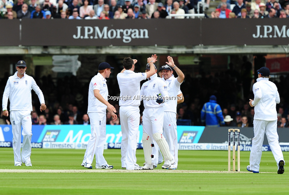 17.05.2012 London, England. Jimmy Anderson celebrates his wicket during the First Test between England and West Indies from Lords.